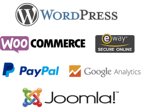 WordPress, WooCommerce, eWay, Paypal, Google Analytics and Joomla logos